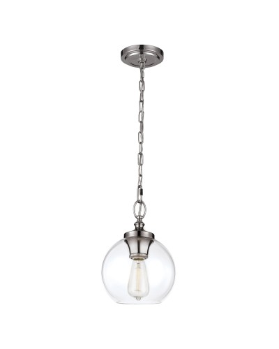 Feiss Tabby 1 Light Mini Pendant In Polished Nickel Finish With Clear Glass Shade