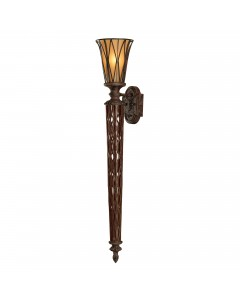 Feiss Triomphe 1 Light Wall Torchiere In Firenze Gold Finish With Amber Glass Shade