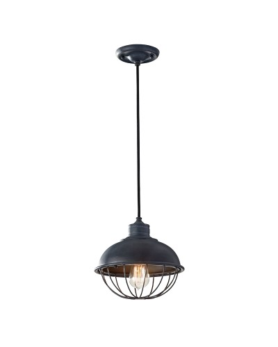Feiss Urban Renewal 1 Light Mini Pendant In Antique Forged Iron With Height Adjustable Black Cord