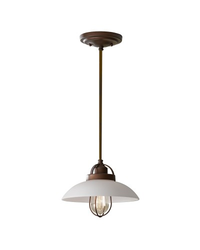 Feiss Urban Renewal 1 Light Mini Pendant In Bronze Patina Finish With Height Adjustable Brown Cord