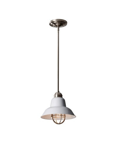 Feiss Urban Renewal 1 Light Mini Pendant In Brushed Steel And Glossy White Finish With Height Adjustable Rods