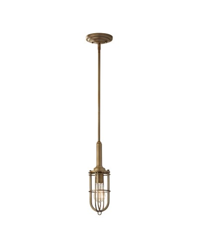 Feiss Urban Renewal 1 Light Mini Pendant In Dark Antique Brass Finish With Height Adjustable Rods