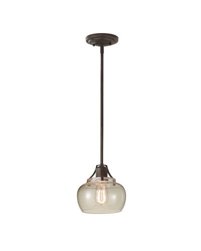 Feiss Urban Renewal 1 Light Mini Pendant In Rustic Iron Finish With Clear Seeded Glass And Height Adjustable Rods