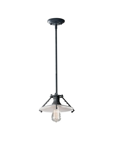 Feiss Urban Renewal 1 Light Mini Pendant In Weathered Zinc Finish With Height Adjustable Rods
