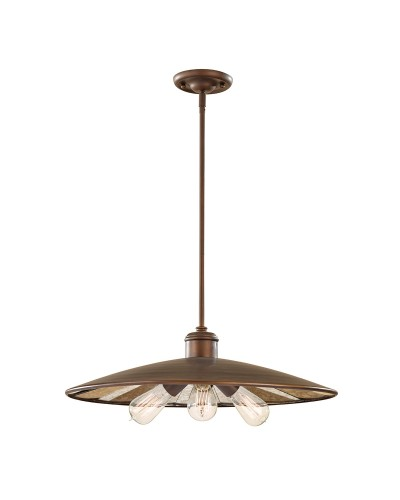 Feiss Urban Renewal 3 Light Large Pendant In Astral Bronze Finish With Height Adjustable Rods