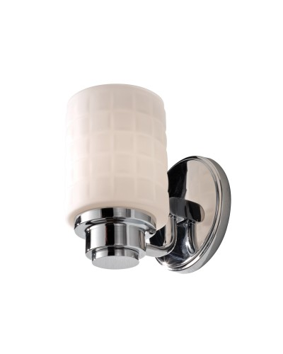 Feiss Wadsworth 1 Light Bathroom Wall Light In Polished Chrome Finish With Mosiac Opal Glass Shade (IP44)