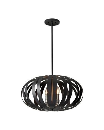 Feiss Woodstock 4 Light Medium Pendant Chandelier In Textured Black Finish With Height Adjustable Rods