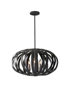 Feiss Woodstock 6 Light Large Pendant Chandelier In Textured Black Finish With Height Adjustable Rods