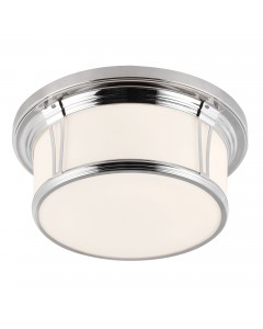 Feiss Woodward Large 3 Light Bathroom Flush Mounted Ceiling Light In Polished Nickel Finish (IP44)