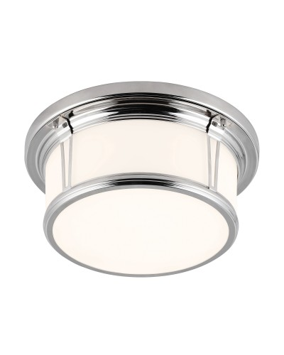 Feiss Woodward Medium 2 Light Bathroom Flush Mounted Ceiling Light In Polished Nickel Finish (IP44)