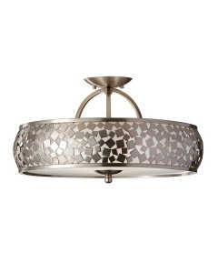Feiss Zara 3 Light Semi-Flush Ceiling Light In Brushed Steel Finish
