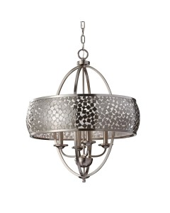 Feiss Zara 4 Light Large Pendant Chandelier In Brushed Steel Finish