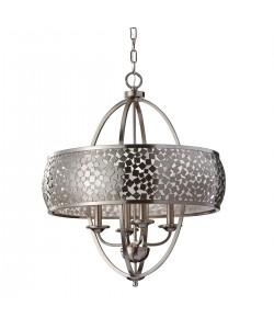 Elstead Lighting Feiss Zara 4 Light Large Pendant Chandelier In Brushed Steel Finish