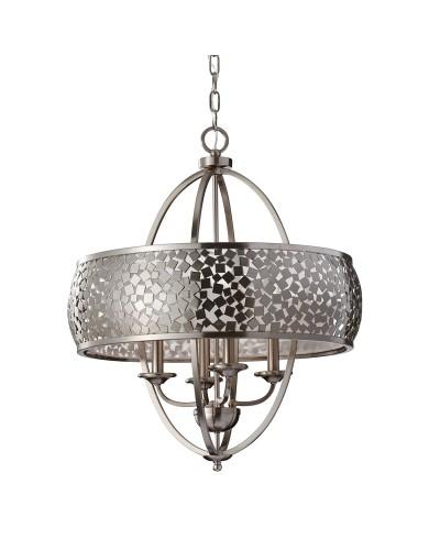 Feiss Zara 4 Light Large Pendant Chandelier In Brushed Steel Finish