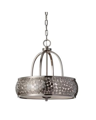 Feiss Zara 4 Light Pendant Chandelier In Brushed Steel Finish