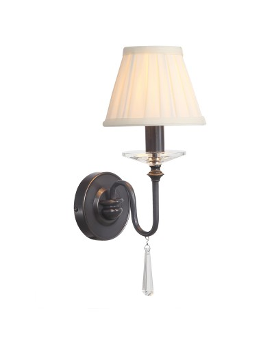 Elstead Lighting Finsbury Park 1 Light Wall Light In Old Bronze Finish With Pleated Ivory Candle Shade
