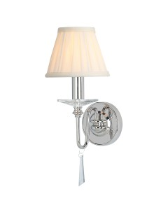 Elstead Lighting Finsbury Park 1 Light Wall Light In Polished Nickel Finish With Pleated Ivory Candle Shade