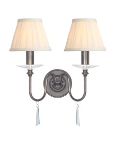 Elstead Lighting Finsbury Park 2 Light Wall Light In Old Bronze Finish With Pleated Ivory Candle Shades