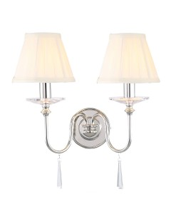 Elstead Lighting Finsbury Park 2 Light Wall Light In Polished Nickel Finish With Pleated Ivory Candle Shades