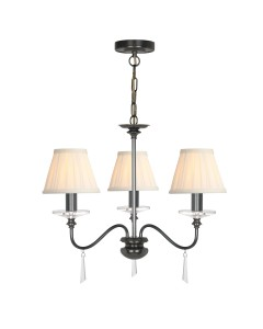 Elstead Lighting Finsbury Park 3 Light Duo Mount Chandelier In Old Bronze Finish With Pleated Ivory Candle Shades