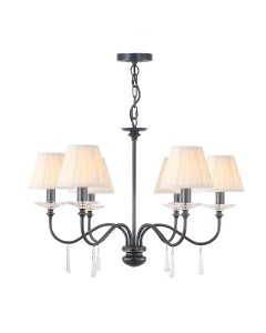 Elstead Lighting Finsbury Park 6 Light Duo Mount Chandelier In Old Bronze Finish With Pleated Ivory Candle Shades