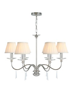 Elstead Lighting Finsbury Park 6 Light Duo Mount Chandelier In Polished Nickel Finish With Pleated Ivory Candle Shades
