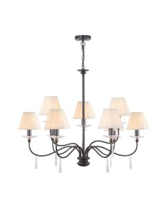 Elstead Lighting Finsbury Park 9 Light Duo Mount Chandelier In Old Bronze Finish With Pleated Ivory Candle Shades