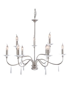 Elstead Lighting Finsbury Park 9 Light Duo Mount Chandelier In Polished Nickel Finish