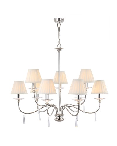 Elstead Lighting Finsbury Park 9 Light Duo Mount Chandelier In Polished Nickel Finish With Pleated Ivory Candle Shades