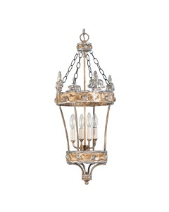 Elstead Lighting Flambeau Crown 4 Light Pendant Lantern - Hand Made In Silver Fleur de Lis Finish