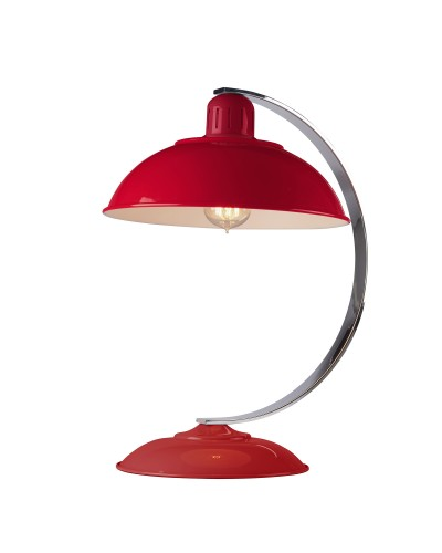 Elstead Lighting Franklin Red 1 Light Desk Lamp Finished In Traffic Red Enamel Paint With Polished Chrome Arch