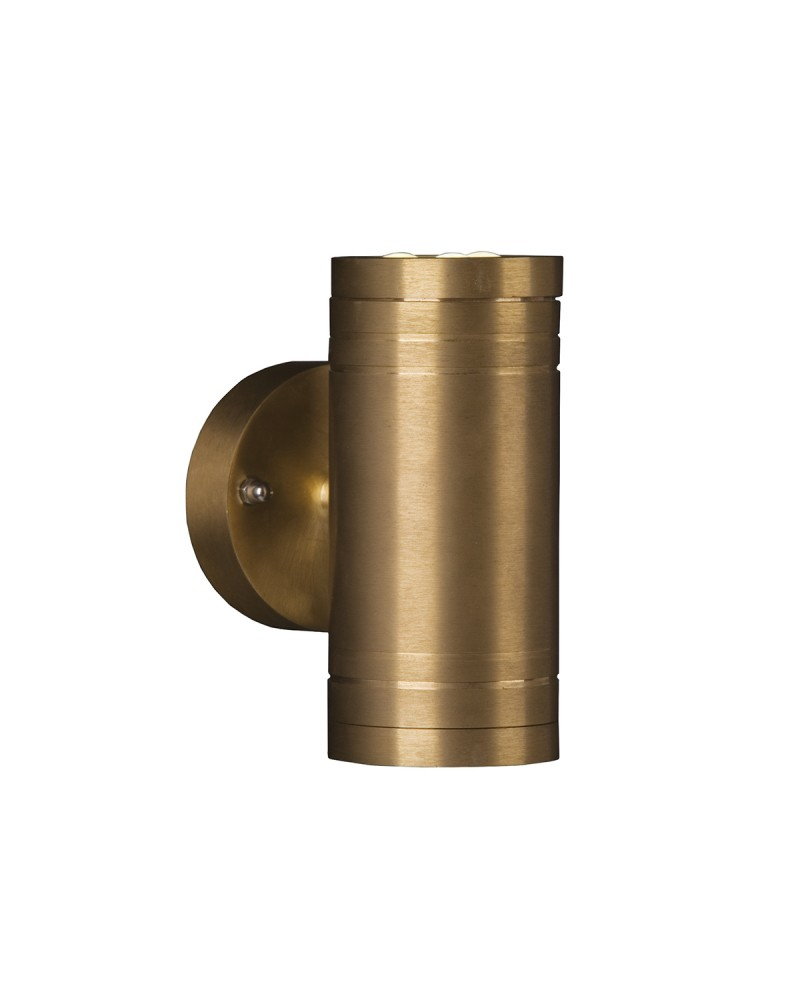 2 light led outdoor updown wall light in solid natural brass elite 2 light led outdoor updown wall light in solid natural brass mozeypictures Image collections