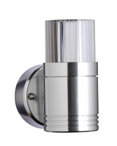 Garden Zone - Optica 1 Light LED Outdoor Wall Light In Anodised Aluminium With Optical Glass Lens