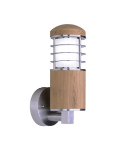 Elstead Lighting - Garden Zone - Poole 1 Light Outdoor Wall Light In Marine Grade Stainless Steel And Malaysian Teak