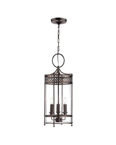 Elstead Lighting Guildhall 3 Light Indoor Lantern In Dark Bronze Finish