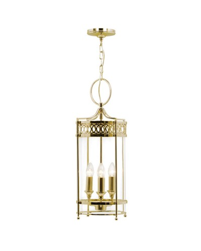 Elstead Lighting Guildhall 3 Light Indoor Lantern In Polished Brass Finish