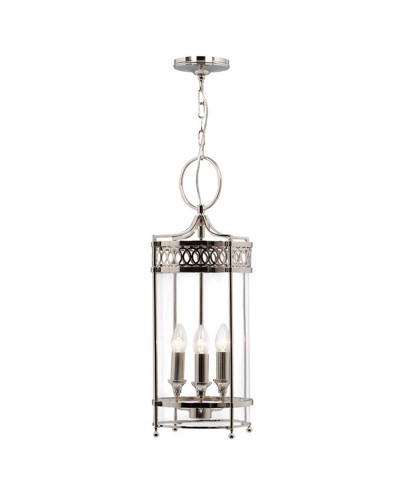 Elstead Lighting Guildhall 3 Light Indoor Lantern In Polished Nickel Finish