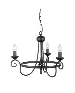 Elstead Lighting Harlech 3 Light Chandelier In Black Finish