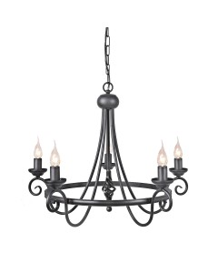 Elstead Lighting Harlech 5 Light Chandelier In Black Finish