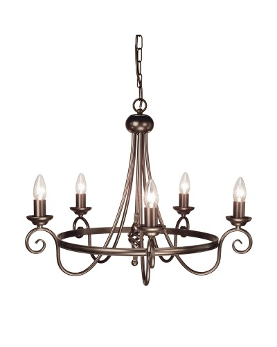Elstead Lighting Harlech 5 Light Chandelier In Dark Bronze Finish