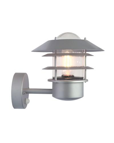 Elstead Lighting Helsingor 1 Light Outdoor Security Wall Lantern In Metallic Silver Finish With PIR Sensor