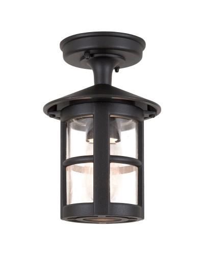 Elstead Lighting Hereford 1 Light Outdoor Flush Ceiling Lantern In Black Finish