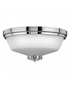 Hinkley Ashley 3 Light Bathroom Flush Mounted Ceiling Light In Polished Chrome Finish (IP44)
