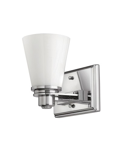 Hinkley Avon 1 Light Bathroom Wall Light In Polished Chrome Finish With Opal Glass Shade (IP44)