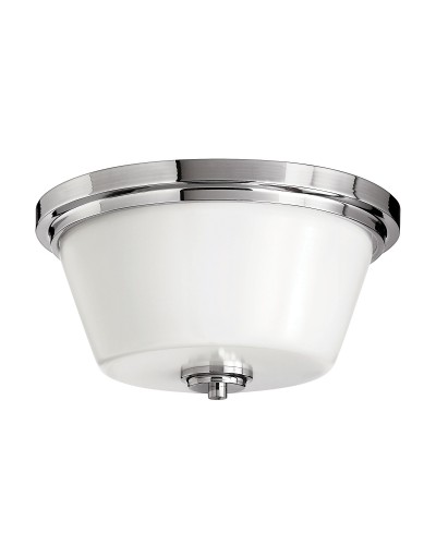 Hinkley Avon 2 Light Bathroom Flush Mounted Ceiling Light In Polished Chrome Finish (IP44)