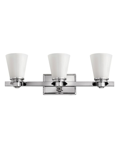 Hinkley Avon 3 Light Above Mirror Bathroom Wall Light In Polished Chrome Finish With Opal Glass Shades (IP44)