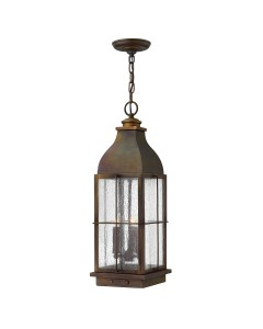 Hinkley Bingham 3 Light Outdoor Chain Lantern In Sienna Finish