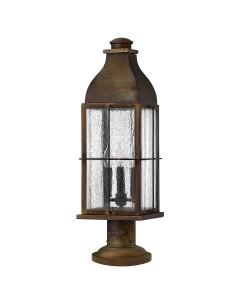 Hinkley Bingham 3 Light Outdoor Pedestal Lantern In Sienna Finish