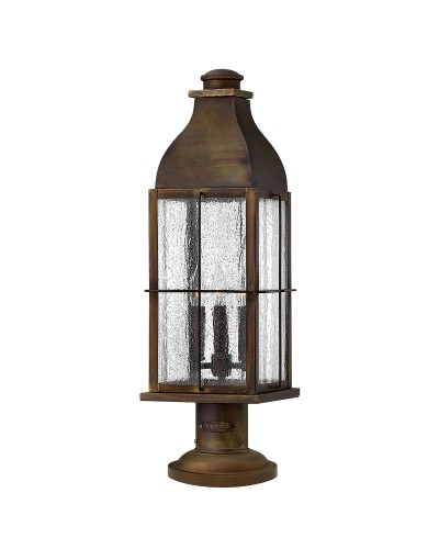Hinkley Bingham 3 Light Outdoor Pedestal Lantern In Sienna Finish