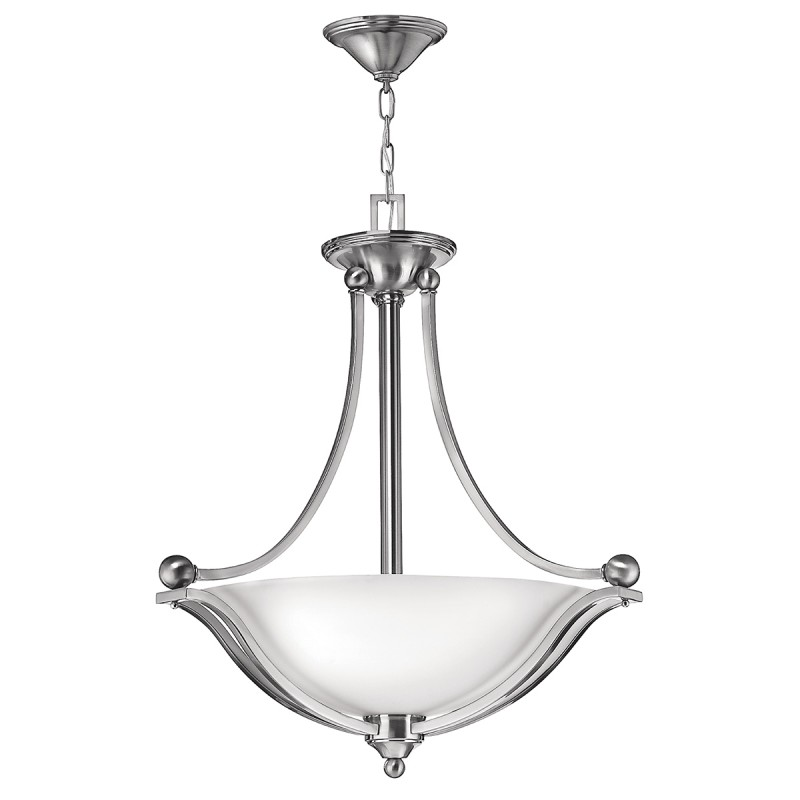 Bolla Chain Chandelier in 3, 5 or 9 Light w Brushed Nickel